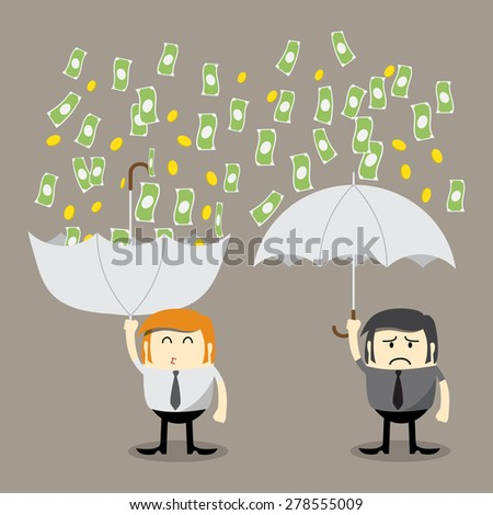 Money falling, Coin falling from sky, money catching by umbrella, Finance concept, Business concept, make money - stock vector