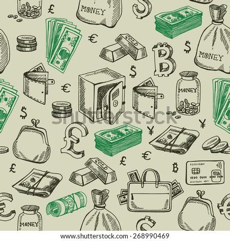 Money falling vector seamless pattern. - stock vector