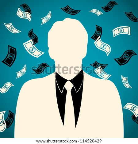 money falls, flies, turned on the man of the businessman - stock vector