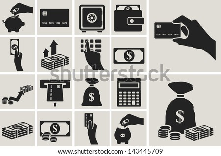 Money, finance and banking vector icons set - stock vector