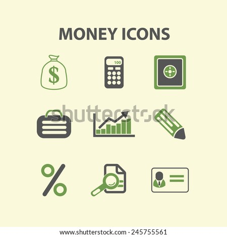 money, finance, investment icons, signs, illustration isolated on background set, vector - stock vector