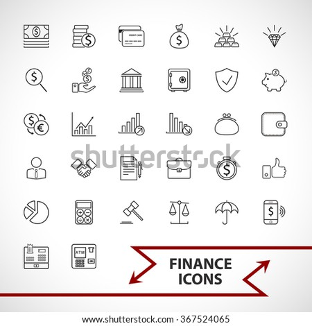 Money, finance, payments icons set. - stock vector