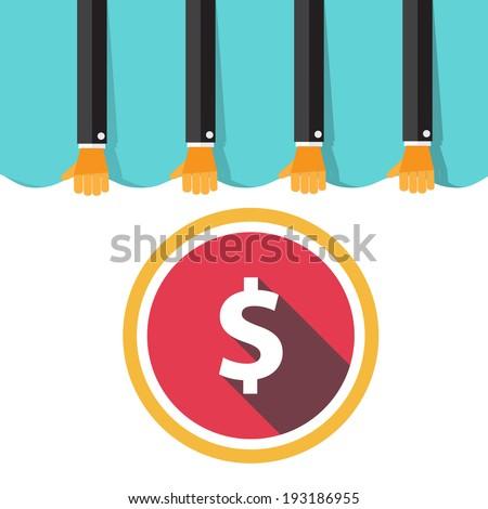 Money Flat design on retro background - stock vector