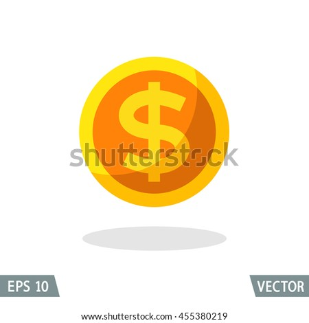 Money flat icon, gold dollar symbol. Vector illustration for web and commercial use. - stock vector