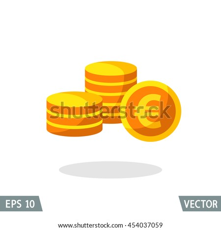 Money flat icon, gold euro symbol, stack of coins. Vector illustration for web and commercial use. - stock vector