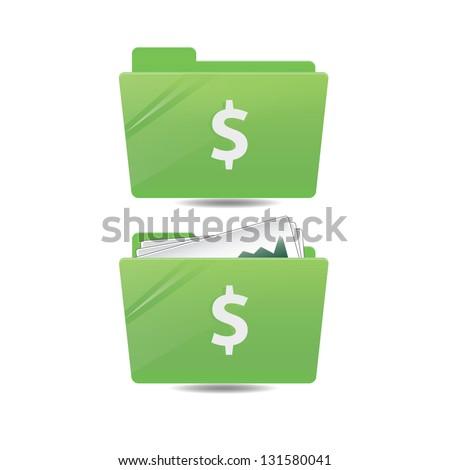 Money folder icon - stock vector