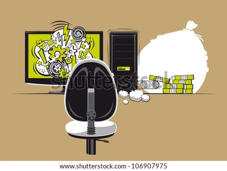 Money from the computer. Illustration of earnings in the internet or in the IT field. - stock vector