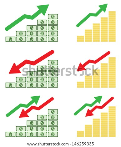 Money graph on white background - stock vector
