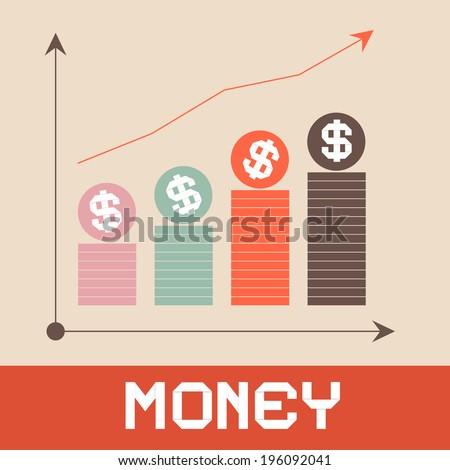 Money Graph Paper Retro Vector Illustration - stock vector