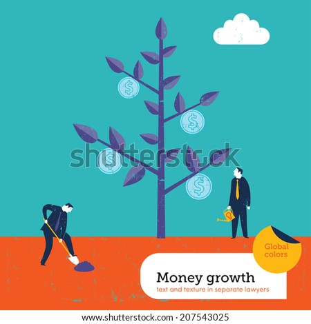 Money growing on a tree. Vector illustration Eps10 file. Global colors. Text and Texture in separate layers.  - stock vector