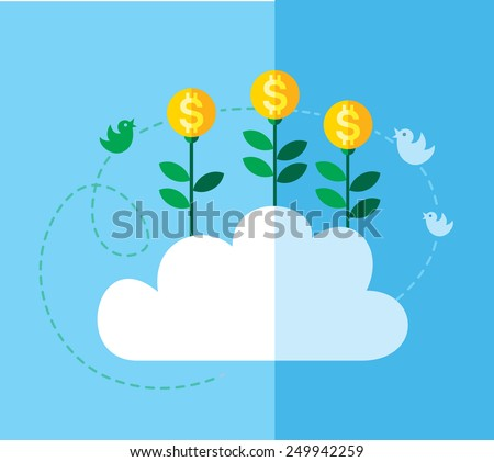 Money growing on cloud. Concept business flat vector illustration. - stock vector