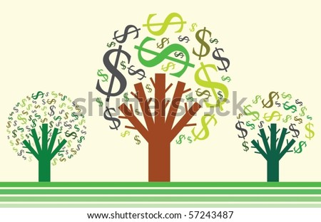 Money growing on trees. Dollar signs. Vector illustration. - stock vector