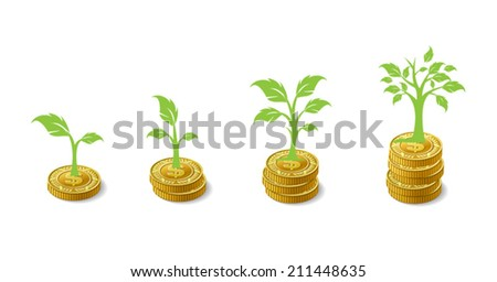 Money Growing - Plant grawing on coins - stock vector