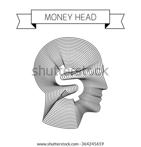 Money head with a dollar sign inside. All thoughts about money conceptual vector illustration made from concentric thin line shapes.