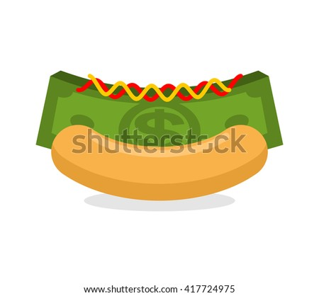 Money hot dog. Bun and stack cash. Financial fast food. Morning breakfast for wealthy. Dollars with mustard and ketchup
