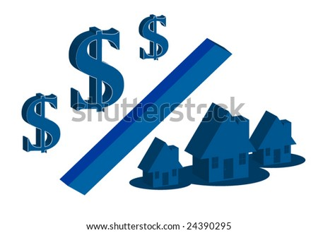 money & house blue edition - stock vector