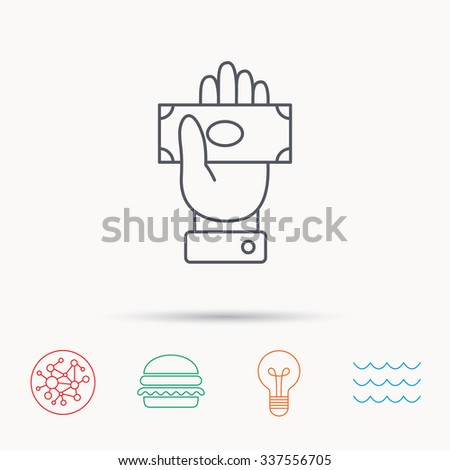 Money icon. Cash in giving hand sign. Payment symbol. Global connect network, ocean wave and burger icons. Lightbulb lamp symbol. - stock vector