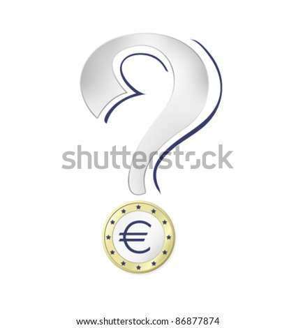 Money icon - Euro coin against white background - stock vector