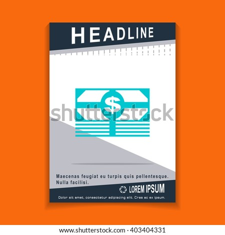 money icon, flyers brochure Vector Layout template, size A4 - stock vector