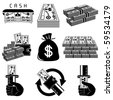 Money icon set - stock photo
