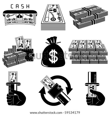 Money icon set - stock vector