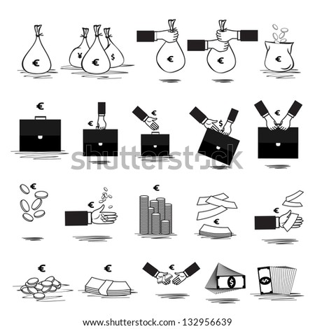 Money Icon - Set - Isolated On White Background. Vector illustration, Graphic Design Editable For Your Design. Money Logo - stock vector
