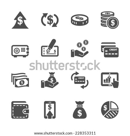 money icon set, vector eps10. - stock vector