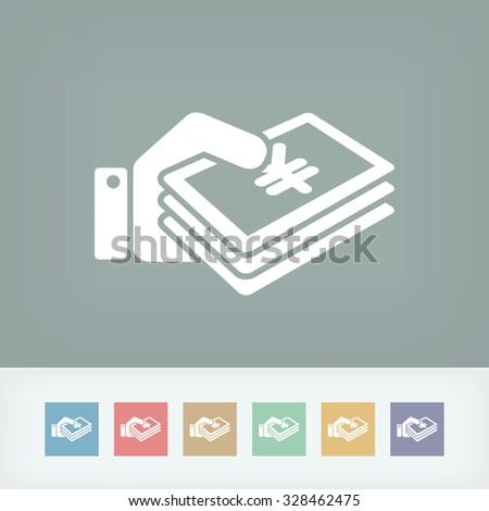 Money icon - Yen - stock vector