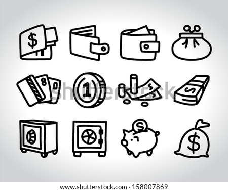money icons doodle sketch - stock vector