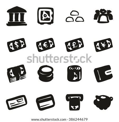 Money Icons Freehand Fill - stock vector