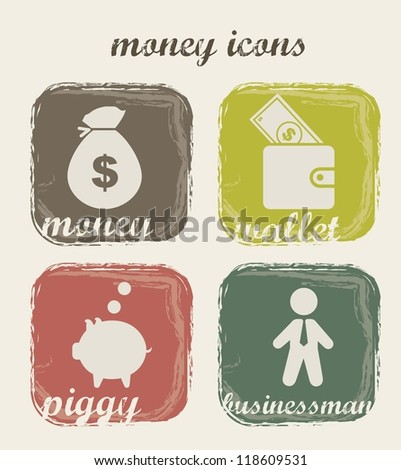 money icons over beige background. vector illustration - stock vector