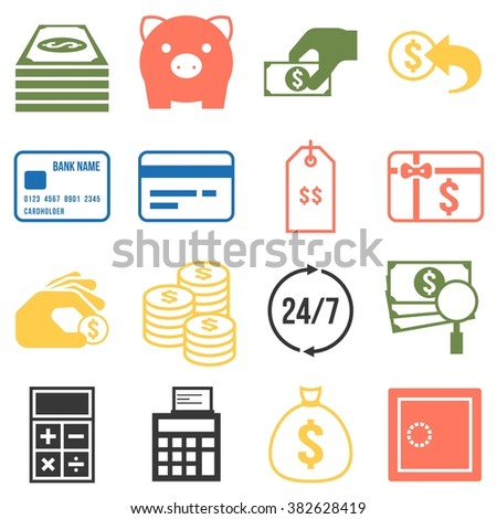Money icons set, silhouette