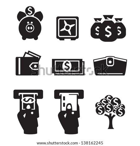 Money icons vector set - stock vector