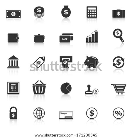 Money icons with reflect on white background, stock vector - stock vector