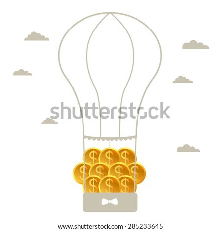 Money in balloon. Business growing money concept. Dollars and balloons growing in sky. Vector illustration - stock vector
