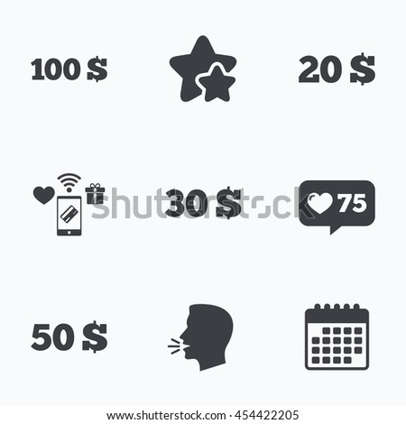 Money in Dollars icons. 100, 20, 30 and 50 USD symbols. Money signs Flat talking head, calendar icons. Stars, like counter icons. Vector - stock vector