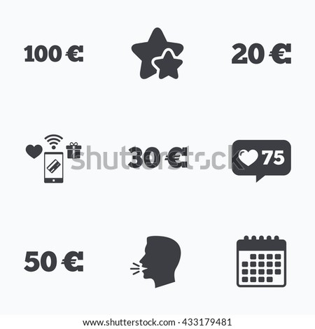 Money in Euro icons. 100, 20, 30 and 50 EUR symbols. Money signs Flat talking head, calendar icons. Stars, like counter icons. Vector - stock vector