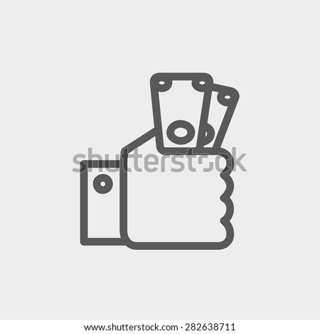 Money in hand icon thin line for web and mobile, modern minimalistic flat design. Vector dark grey icon on light grey background. - stock vector