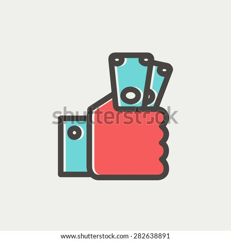 Money in hand icon thin line for web and mobile, modern minimalistic flat design. Vector icon with dark grey outline and offset colour on light grey background. - stock vector