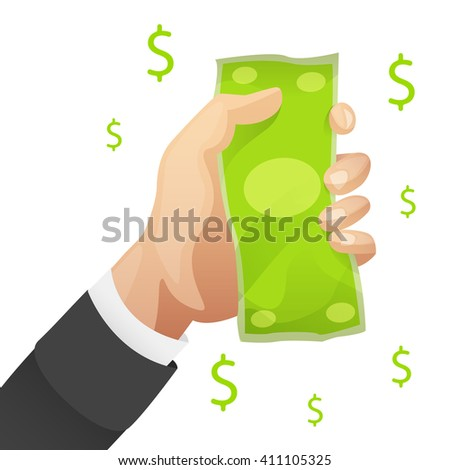 Money in hand with dollar symbol isolated. Reward icon. Win icon concept. Banknote in hand. Business man handing money. Finance icon. Investment money deal vector illustration. Pay icon. Buy icon. - stock vector