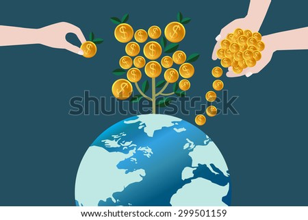 Money in hands. Business growing money concept. Plant growing on the world. Concept of global trade. Vector illustration - stock vector