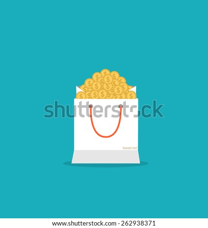 Money in the bag, vector illustration. - stock vector
