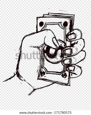 Money in the hand - stock vector