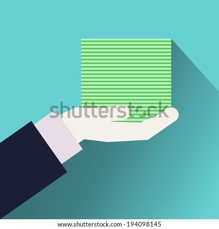 Money in the hand. Hand with money - stock vector