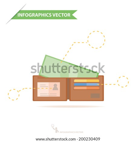 Money in wallet flat vector design for business and finance infographics - stock vector
