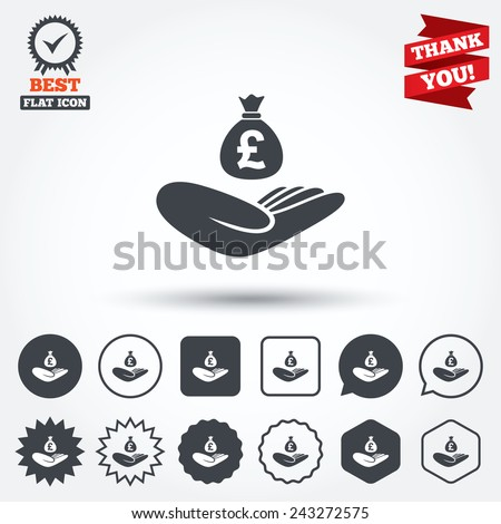 Money insurance sign. Hand holds cash bag in Pounds symbol. Circle, star, speech bubble and square buttons. Award medal with check mark. Thank you ribbon. Vector - stock vector