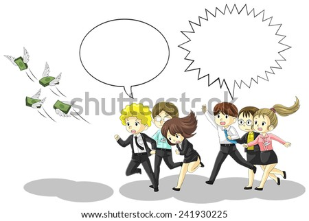 Money is flying away from business and office people with speech bubble. It is because of inflation, economic recession, or business loss? - stock vector