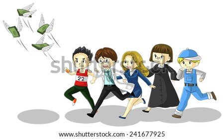 Money is flying away from people of various jobs and professions. It is because of inflation, economic recession, or business loss? - stock vector