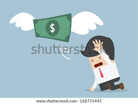 Money is flying away from sadness businessman, VECTOR, EPS10 - stock vector