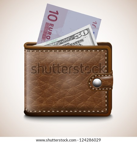 Money , Leather wallet  with Dollar USA, Euro, vector - stock vector